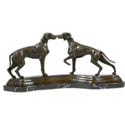 "Vintage Bronze ""Kissing"" Pointer Dog Pair"