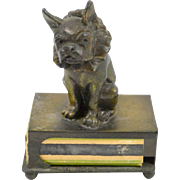 Vintage Circus French Bulldog Figural Bronze Match Box Holder c. 1930's