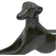 Art Deco Bronze Reclining Greyhound Dog c. Early 1940's