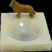 Vintage Alabaster Trinket Dish with Cold- Painted Bronze Collie Dog circa 1920-1930