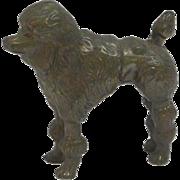 Spelter Poodle Figurine Bronze Wash