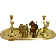 Antique Brass Quill Pen Stand with Cold Painted Bronze Pug and Terrier Dogs