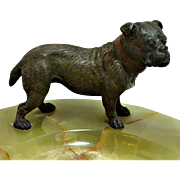 Vienna Bronze Bulldog on Large Onyx Dresser Tray c.1920's-30's