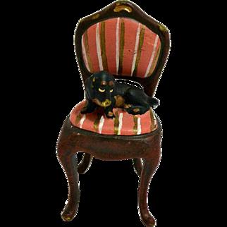 Vienna Bergmann Cold Painted Bronze Dachshund Puppy on Chair