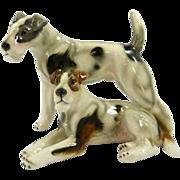 Vintage Keramos Porcelain Figurine Pair of Wire- Haired Fox Terriers