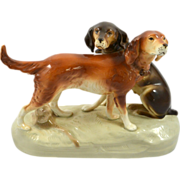 Large Vintage Royal Dux Pair of Hunting Dogs c. 1950's