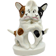 Dancing Pair of Very Old German Porcelain French Bulldogs c. 1920