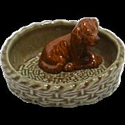 Vintage Wade Irish Setter Puppy in Basket Trinket Dish c. 1970's