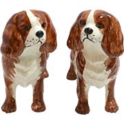Italian Porcelain Pair of Cavalier King Charles Dog Figurines
