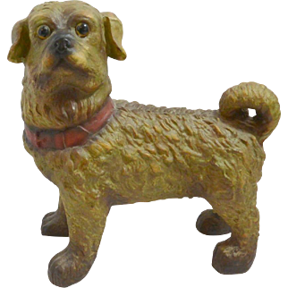 Austrian Terracotta Standing Pug Dog with Glass Eyes c.1880-1900