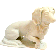 Vintage White Porcelain Bisque Long-Haired Dachshund Dog Germany