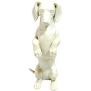 Vintage White Porcelain Bisque Short-Haired Dachshund Dog Germany
