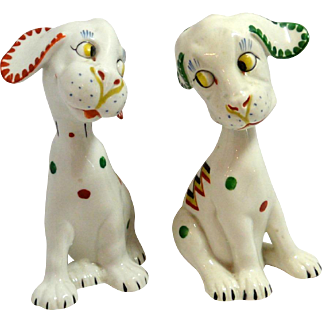 "Vintage Mid-Century Puppy Pair ""Flirting"" Germany"