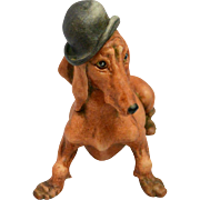 Capodimonte Dachshund Dog With Bowler Hat