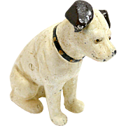Vintage Original RCA Nipper Dog Still Bank With Glass Eyes