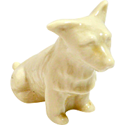 Irish Belleek Seated Terrier Dog
