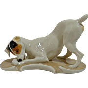 Nymphenburg Porcelain Fox Terrier Dog Figurine T. Karner