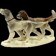 Vintage Hertwig Porcelain English Setter Dog Pair c.1940