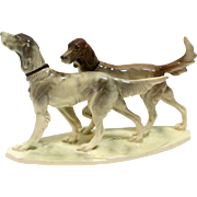 Vintage Hertwig Porcelain English Setter Dog Pair c.1940