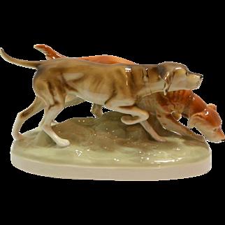 Large Vintage Royal Dux Sporting Dog Pair MINT