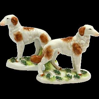 Staffordshire Porcelain Borzoi Pair c. 1880's-1920's