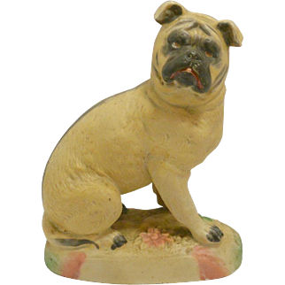 Antique Bisque Pug Dog Figurine Germany c.1870