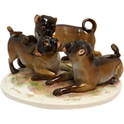Antique Meissen Trio of Pug Dogs Porcelain Figural Group c. 1860 - 1924
