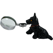 Rare Hubley Scottish Terrier With Magnifying Glass 1930's