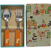 Bakelite Handle Baby's Fork & Spoon Set with Scottie dogs Original Box