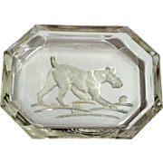 Vintage Glass Intaglio Dog With Ball Salt Dish