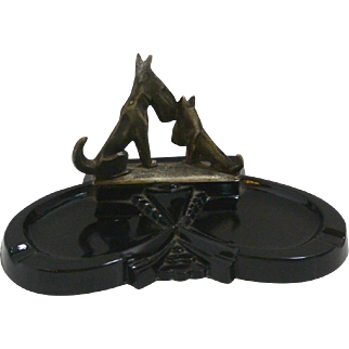 Art Deco Black Amethyst Glass Ashtray with Scottish Terrier Dogs