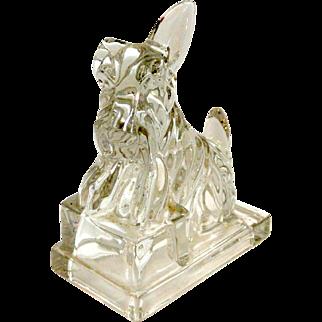 Vintage Cambridge Clear Crystal Scottish Terrier Dog Bookend c.1940-1955