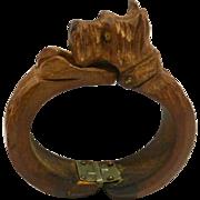 Vintage Wood Hand-Carved Scottie Dog Cuff Bracelet