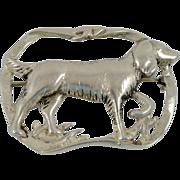 Sterling Silver Setter Dog Art Nouveau Brooch