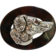 Sterling Silver and Tortoise Shell Borzoi Dog Head Brooch