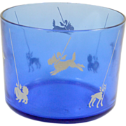 Vintage Cobalt Blue Glass Bowl with Dog Silhouettes