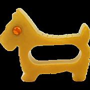 Vintage Butterscotch Bakelite Scottie Dog Napkin Ring 1930's - 1950's