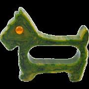 Vintage Marbled Green Bakelite Scottie Dog Napkin Ring 1930's - 1950's