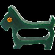 Vintage Spruce Green Bakelite Scottie Dog Napkin Ring 1930's - 1950's