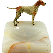 Vintage Alabaster Ashtray with Cold- Painted Bronze Pointer Dog Figure circa 1920-1930