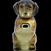 Vintage Majolica Erphila Figural Dachshund Dog Teapot c. 1938-1945