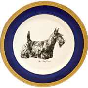 Porcelain Plate with Scottish Terrier Artist Signed 1985