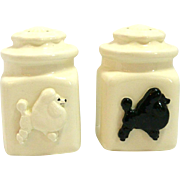 Vintage White Ironstone Poodle Salt & Pepper Shakers c.1950's
