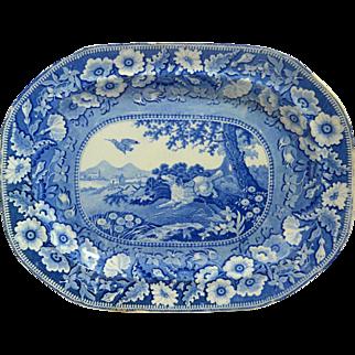 Antique Transferware Platter with Sporting Dog R. Stevenson c. 1810 - 1835
