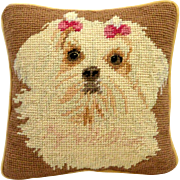Vintage Needlework Maltese Dog Pillow