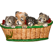 Vintage Chalkware Puppies in a Basket Wall Plaque