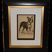 "Vintage 1936 Diana Thorne's Boston Terrier Dog ""Made in America"" Signed & Framed Art Print"
