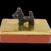 Vintage Bakelite and Metal Cigarette Box with Scottish Terrier Dog c.1940's - 1950's
