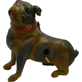 Vintage Pottery Pug Dog Birdhouse early 1900's
