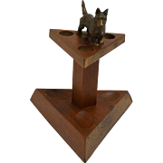 Vintage Blecher Walnut Pipe Stand with Bronze Scottish Terrier Dog